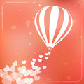 Hot Air Balloon With Flying Hearts. Romantic Royalty Free Stock Photos - 37344188