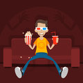 Teenager Sits On Sofa In 3D Glasses Royalty Free Stock Photo - 37364995
