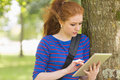 Redhead Student Leaning Against A Tree Using Her Tablet Royalty Free Stock Image - 37367566