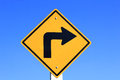 Turn Right Yellow Road Sign Stock Image - 37372181