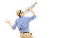 Excited Young Musician Playing Trumpet Stock Photo - 37373690