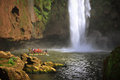 Boat Under Ouzoud Waterfall, Morocco Royalty Free Stock Image - 37383336
