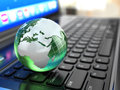 Global Communications. Earth On Laptop Keyboard. Royalty Free Stock Image - 37386136