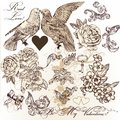 Vector Set Of Vintage Elements On Love Theme Stock Images - 37394054