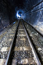 Light At The End Of Railroad Tunnel Royalty Free Stock Photos - 37405218