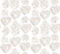 Flowers And Hearts Seamless Background. Flourish Japanese Texture. Royalty Free Stock Images - 37419259