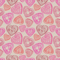 Hearts Flowers And Birds Seamless Background. Love Retro Texture. Royalty Free Stock Photos - 37419348
