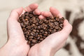 Coffee Beans In Love Heart Shape Royalty Free Stock Photography - 37424447
