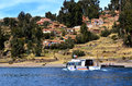 Tourist Boat In Amantani On Lake Titicaca Royalty Free Stock Photography - 37427837