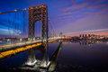 George Washington Bridge Lit Up For Super Bowl Royalty Free Stock Photos - 37431188