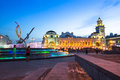 View Of Kievskiy Railway Station At Night In June 14, 2012 In Moscow, Russia. Royalty Free Stock Image - 37432546