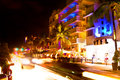 Drive Scene At Night Lights, Miami Beach, Florida. Stock Photos - 37435853