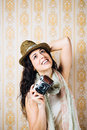 Hipster Girl Taking Photo With Vintage Camera Royalty Free Stock Photos - 37436398
