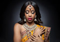 Young Indian Woman In Traditional Clothing With Bridal Makeup And Jewelry Stock Images - 37440974