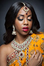 Young Indian Woman In Traditional Clothing With Bridal Makeup And Jewelry Royalty Free Stock Photo - 37441045
