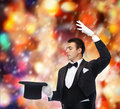 Magician In Top Hat Showing Trick Royalty Free Stock Photo - 37454185