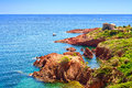 Esterel Rocks Beach Coast And Sea. Cote Azur, Provence, France. Stock Images - 37474014
