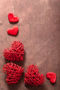 Red Hearts Over Wooden Background For Valentines Day Royalty Free Stock Images - 37484259