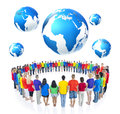 Group Of People Standing Around The Globe Stock Photo - 37510110