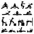 Body Stretching Exercise Stick Figure Pictogram Ic Stock Images - 37526144