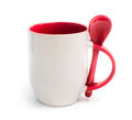 Mug With Red Spoon Royalty Free Stock Photo - 37528825
