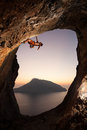 Rock Climber At Sunset Royalty Free Stock Image - 37545646