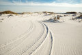 Tire Tracks In Beach Sand Dunes At Dusk Royalty Free Stock Photo - 37578355