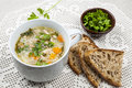 Cup Of Chicken Rice Soup Stock Photos - 37586893