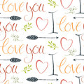 I Love You Colorful Background With Hearts And Arrows Royalty Free Stock Photography - 37607017