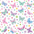Butterflies Flowers Hearts And Dots Pattern Royalty Free Stock Photography - 37625967