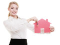 Business Woman Real Estate Agent Holding Red Paper House Keys Stock Photography - 37631112