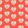 Seamless Hipster Hearts Pattern In Red And Cream Royalty Free Stock Photos - 37650178