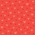 Seamless Hipster Hearts Pattern In Red And Orange Royalty Free Stock Image - 37650186