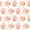 Seamless Hipster Love Pattern In Cream And Red Royalty Free Stock Photography - 37650257