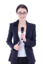 Young Beautiful Female Journalist With Microphone Isolated On Wh Royalty Free Stock Image - 37652376