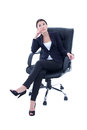 Young Beautiful Business Woman Sitting On The Chair And Dreaming Royalty Free Stock Images - 37652479