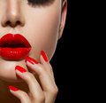 Red Sexy Lips And Nails Royalty Free Stock Photos - 37671178