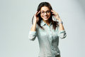 Young Happy Smiling Businesswoman Wearing Glasses Standing Royalty Free Stock Photos - 37697168