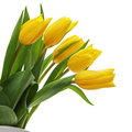 Flower Bouquet From Yellow Tulips In Vase Isolated On White Back Royalty Free Stock Photos - 37701528