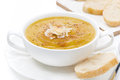 Cream Soup Of Yellow Lentils With Bread, Close-up, Isolated Stock Photography - 37702532