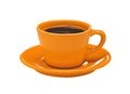Orange Cup Of Coffee On Plate Isolated On White Stock Images - 37704564