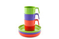 Camping Cup And Saucers On A Pile Royalty Free Stock Photos - 37705388