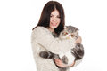 Beautiful Young Woman Holding A Cat, Isolated Against White Background Royalty Free Stock Photography - 37705627
