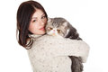 Beautiful Young Woman Holding A Cat, Isolated Against White Background Royalty Free Stock Photo - 37705675