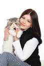 Beautiful Young Woman Holding A Cat, Isolated Against White Background Royalty Free Stock Photography - 37705797