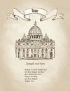 St. Peter S Cathedral, Rome, Italy. Travel Vaticat Retro Wallpaper Royalty Free Stock Images - 37706099