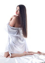 Pretty Naked Brunette Posing In Silk Dressing Gown Royalty Free Stock Image - 37727816