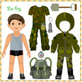 Paper Doll With A Set Of Clothes. Stock Image - 37732321