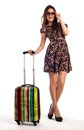 Full Length Of Casual Woman Standing With Travel Suitcase Stock Images - 37754344