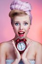 Beautiful Young Sexy Pin-up Girl With Surprised Expression Stock Photography - 37755312